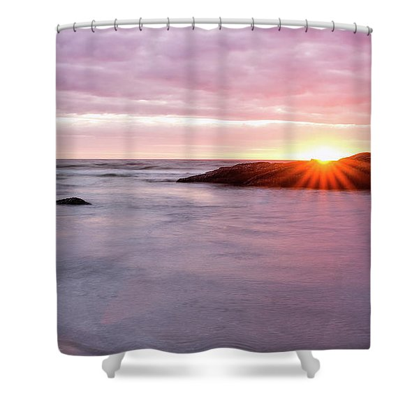 Morning Sun Good Harbor Shower Curtain