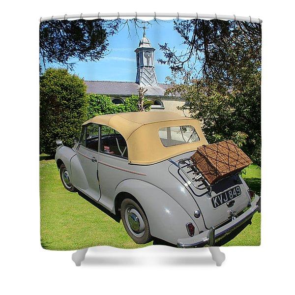 Morris Minor Grey Convertible Shower Curtain