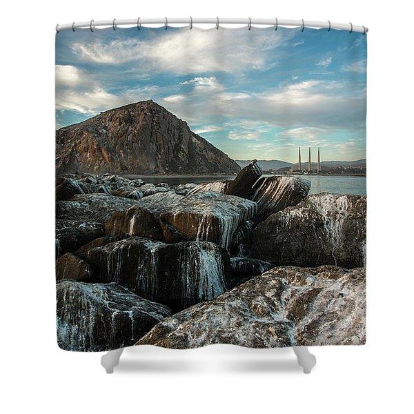 Morro Rock Breakwater Shower Curtain