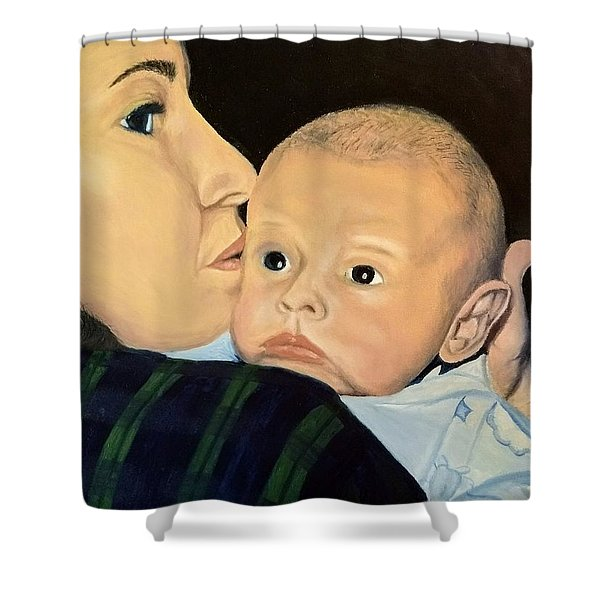 Shower Curtain featuring the painting Mother And Son by Kevin Daly