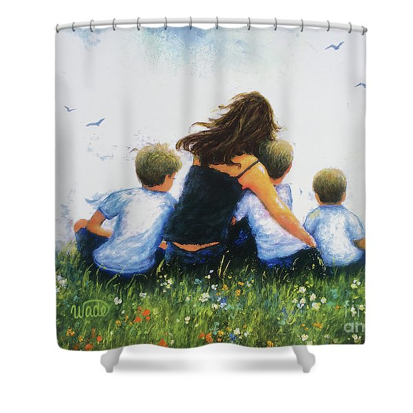 Mother And Three Sons Hugging Blonde Boys Shower Curtain