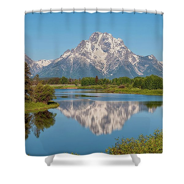 Mount Moran On Snake River Landscape Shower Curtain