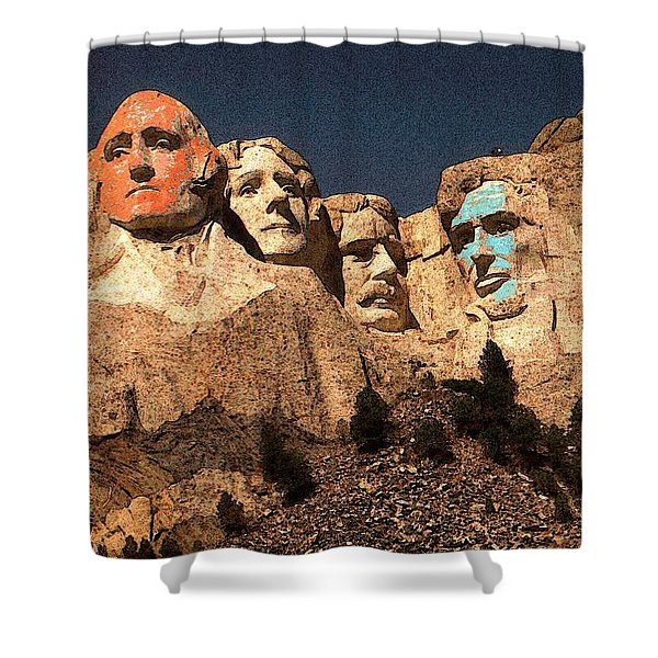 Mount Rushmore Red And Blue Drawing Shower Curtain
