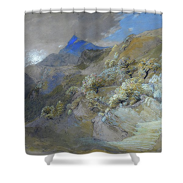 Mount Siabod From Tyn-y-coed Near Capel Curig - Digital Remastered Edition Shower Curtain