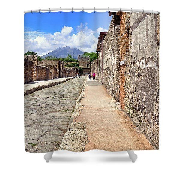 Mount Vesuvius And The Ruins Of Pompeii Italy Shower Curtain