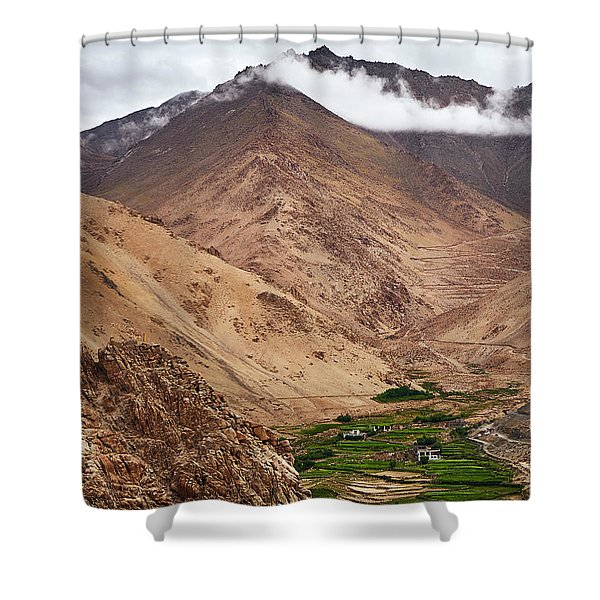 Shower Curtain featuring the photograph Mountain Farming by Whitney Goodey