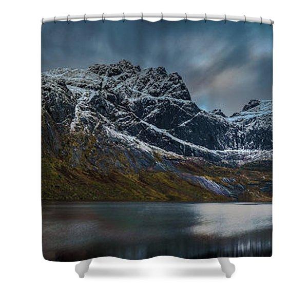 Mountain Lake In Norway On Lofoten Near Nusfjord Shower Curtain