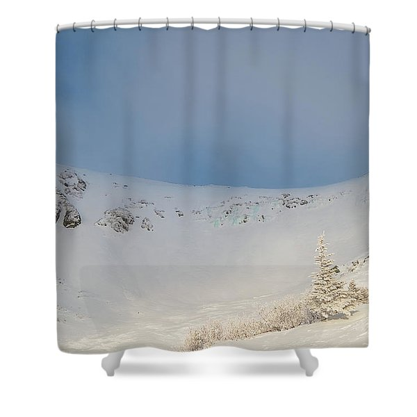 Shower Curtain featuring the photograph Mountain Light, Tuckerman Ravine by Jeff Sinon