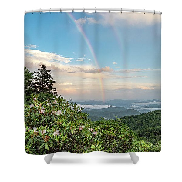 Shower Curtain featuring the photograph Mountain Rainbow by Ken Barrett