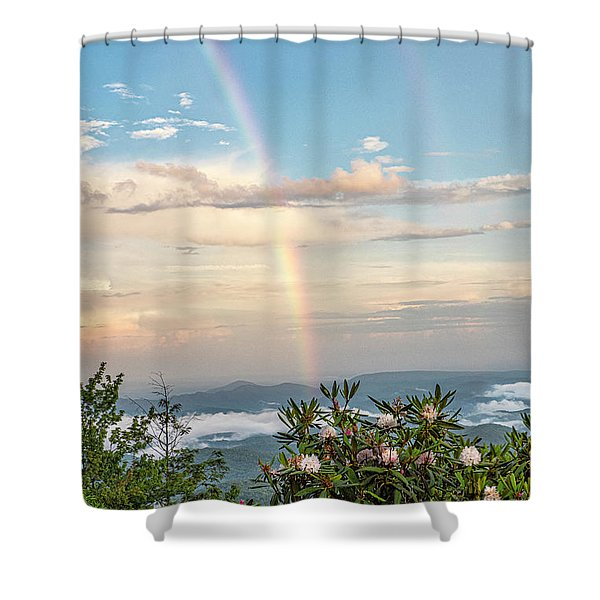 Shower Curtain featuring the photograph Mountain Rainbow Vertical by Ken Barrett
