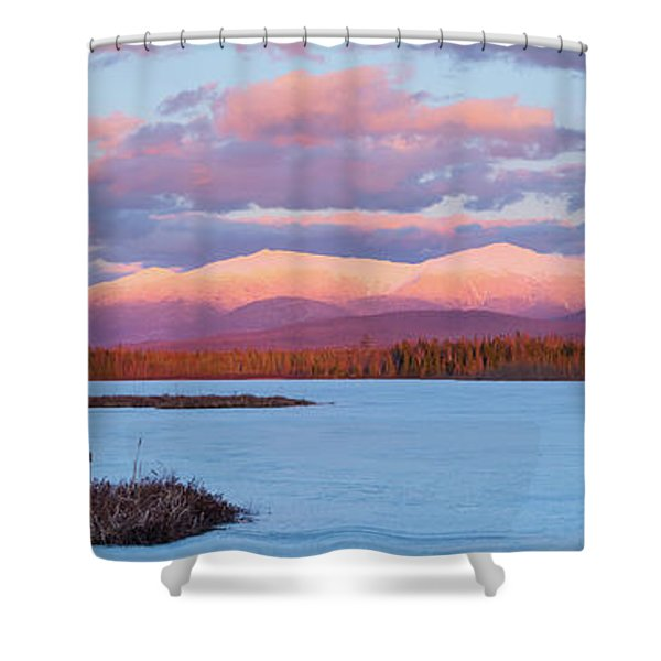 Mountain Views Over Cherry Pond Shower Curtain