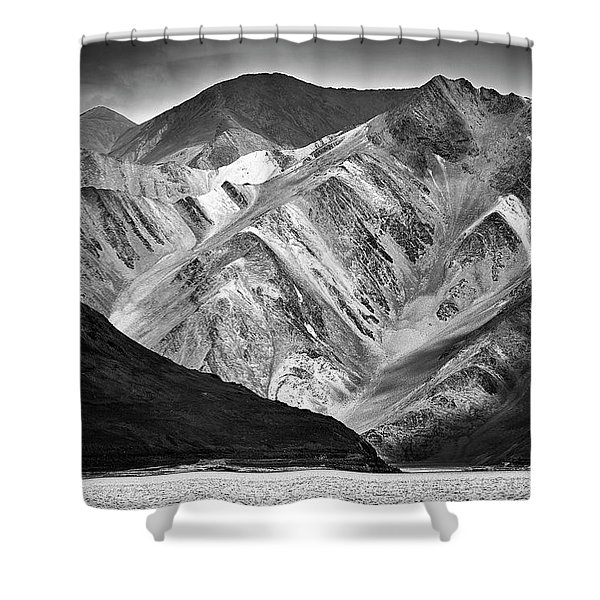 Shower Curtain featuring the photograph Mountains At Pangong by Whitney Goodey