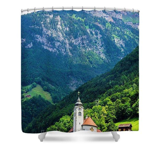 Mountainside Church Shower Curtain