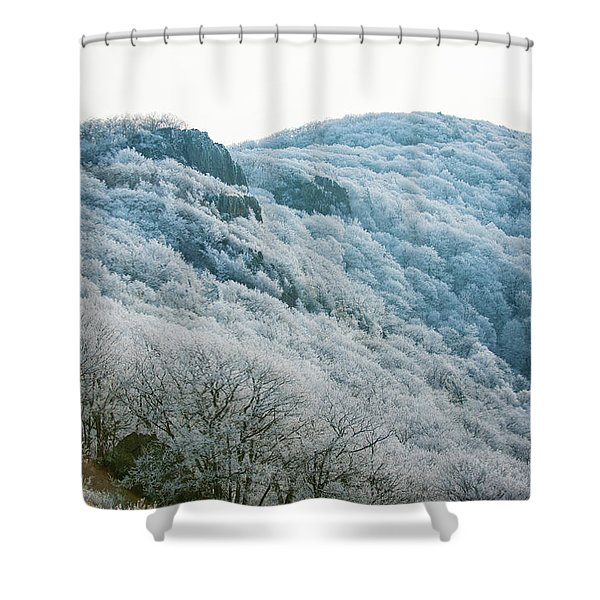 Mountainside Hoarfrost Shower Curtain