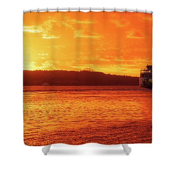 Mukilteo Ferry On Puget Sound Sunset Reflection Shower Curtain