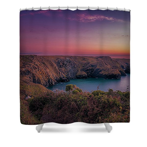 Mullion Cove Cornwall Sunset Shower Curtain
