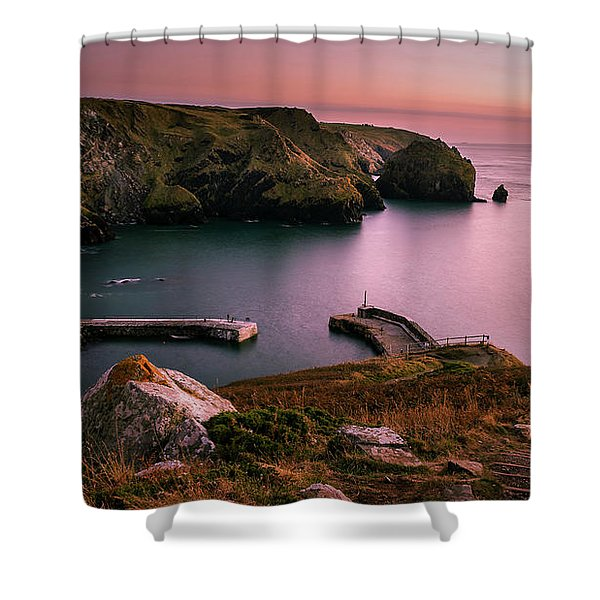 Mullion Cove Sunset - Cornwall General View Shower Curtain