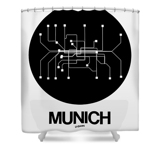 Munich Black Subway Map Shower Curtain