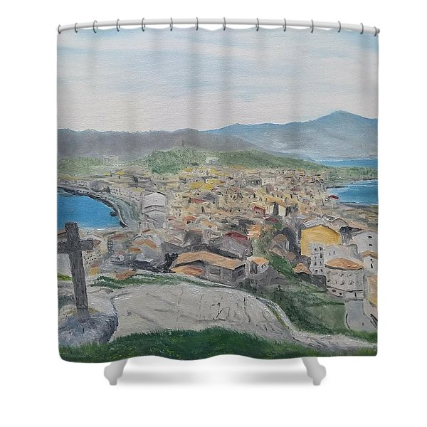 Shower Curtain featuring the painting Muxia by Kevin Daly