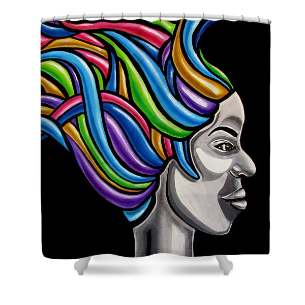 Colorful Abstract Black Woman Face Hair Painting Artwork - African Goddess Shower Curtain