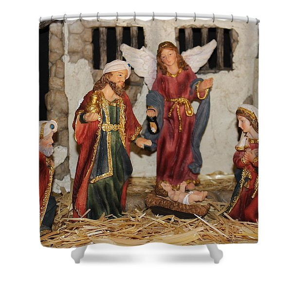My German Traditions - Christmas Nativity Scene Shower Curtain