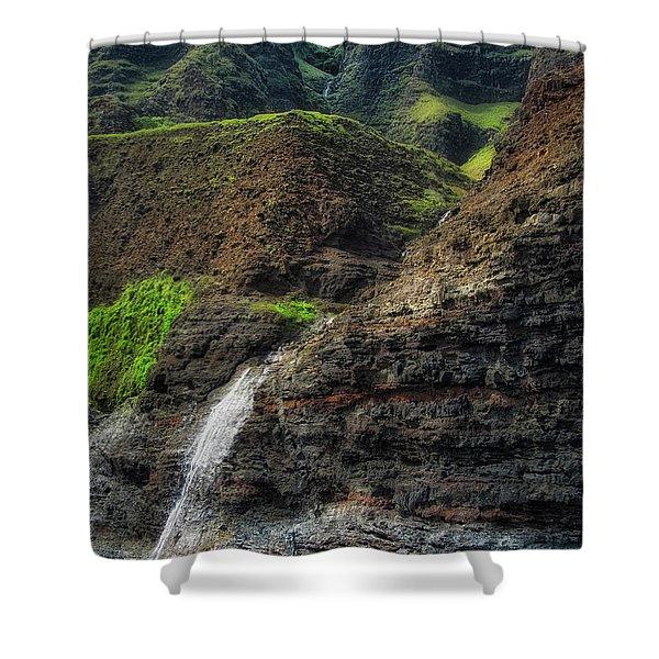 Na Pali Coast Waterfall Shower Curtain