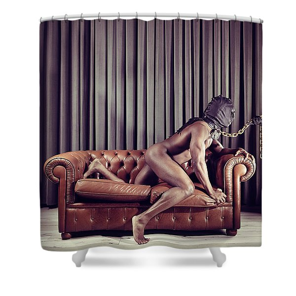 Naked Man With Mask On A Sofa Shower Curtain