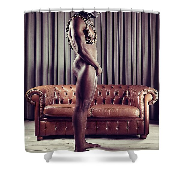 Naked Man With Mask Standing In Front Of A Sofa Shower Curtain