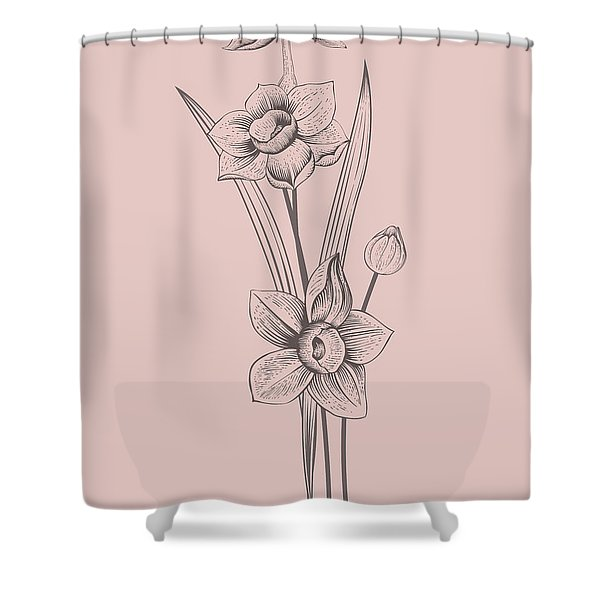 Narcissus Blush Pink Flower Shower Curtain