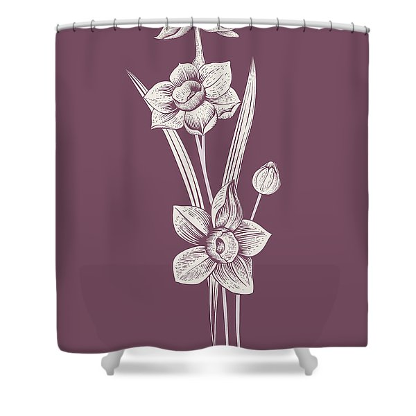 Narcissus Purple Flower Shower Curtain