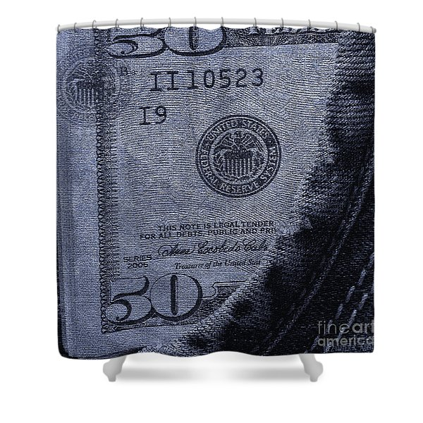 Navy Blue Denim And Money Shower Curtain