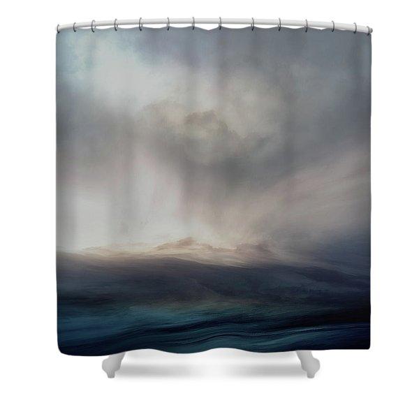 Navy Blue Sea Shower Curtain