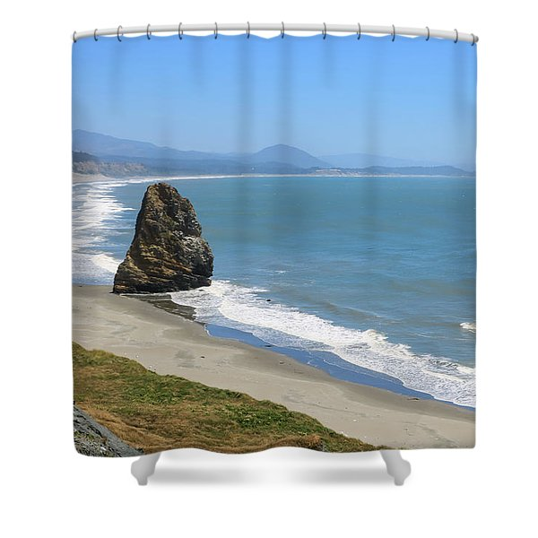 Shower Curtain featuring the photograph Needle Rock 1, Cape Blanco, Oregon by Dawn Richards