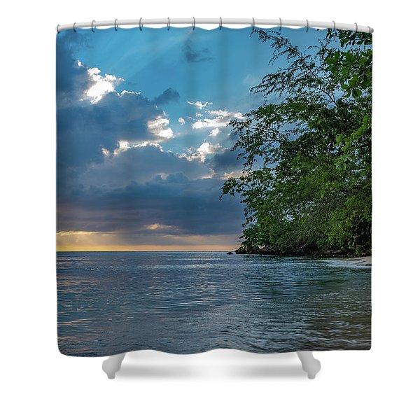 Negril Beach Sunburst At Sunset Shower Curtain