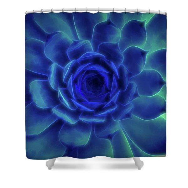Shower Curtain featuring the digital art Neon Blue Sempervivum by Scott Lyons