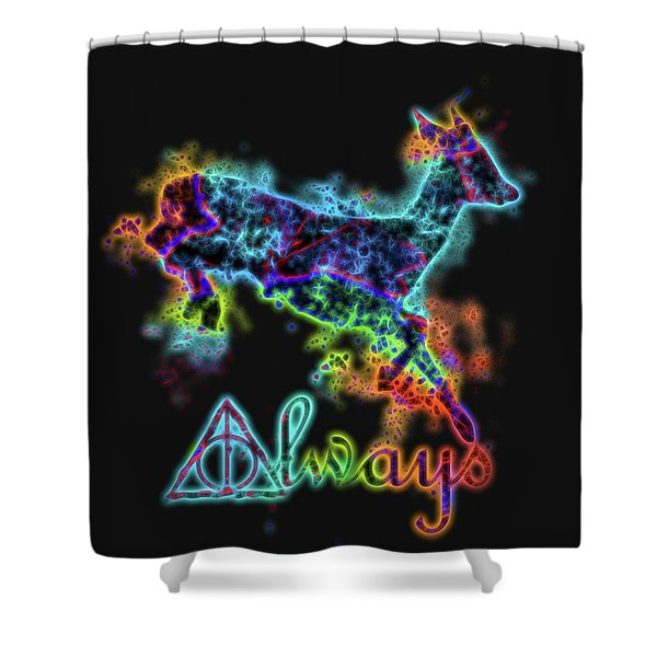 Neon Harry Potter Always Shower Curtain
