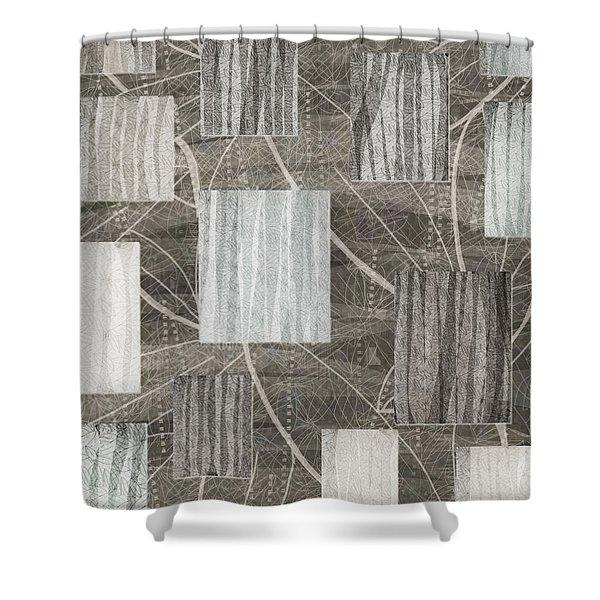 Neutral Leaf Print Squares Cream Shower Curtain