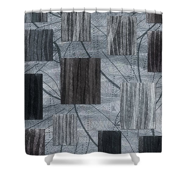 Neutral Toned Leaf Square Print Shower Curtain