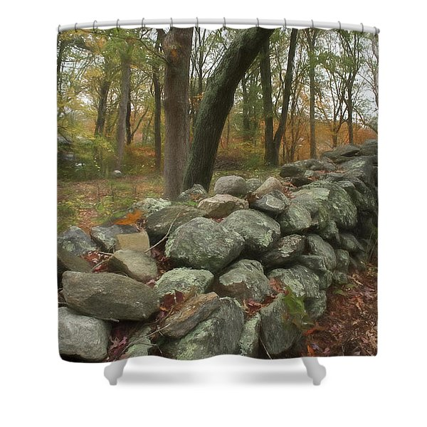 Shower Curtain featuring the photograph New England Stone Wall 1 by Nancy De Flon