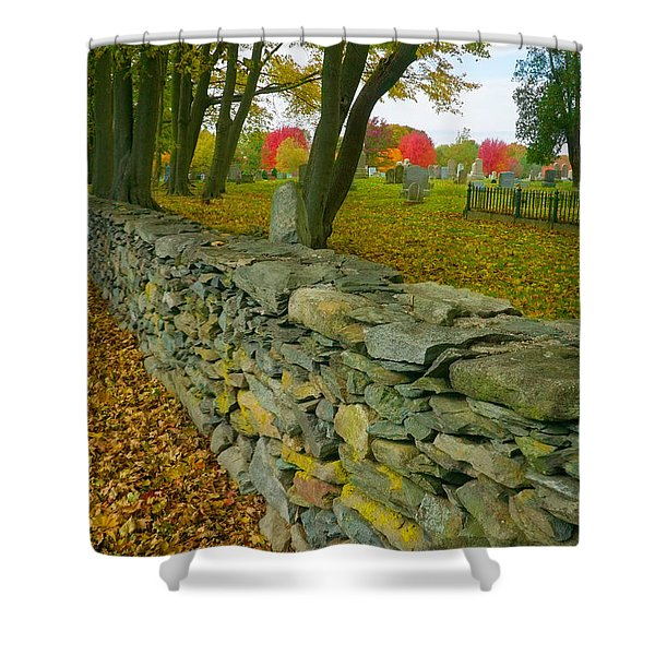 Shower Curtain featuring the photograph New England Stone Wall 2 by Nancy De Flon