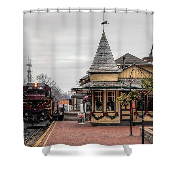 New Hope Train Station At Christmas Shower Curtain