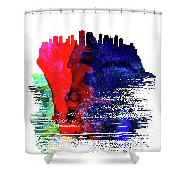 New Orleans Skyline Brush Stroke Watercolor   Shower Curtain