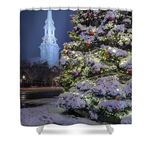 Shower Curtain featuring the photograph New Snow For Christmas by Jeff Sinon
