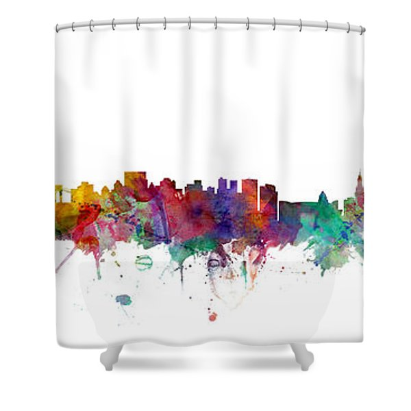 New York And Miami Skylines Mashup Shower Curtain