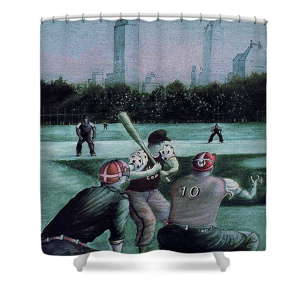 New York Central Park Baseball - Watercolor Art Painting Shower Curtain