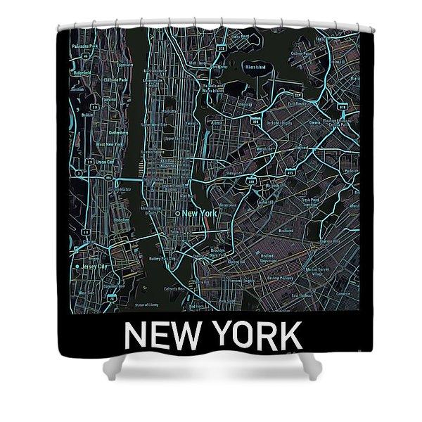 New York City Map Black Edition Shower Curtain
