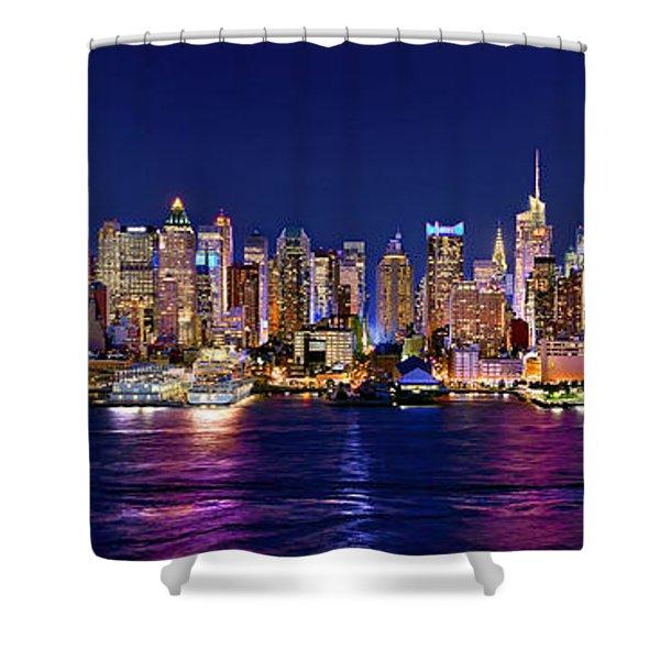 New York City Nyc Midtown Manhattan At Night Shower Curtain