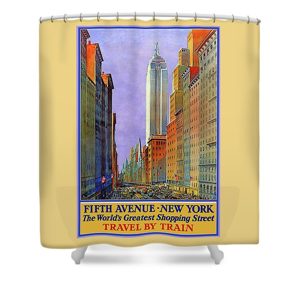 New York Fifth Avenue Travel Poster Shower Curtain