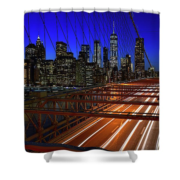 New York Skyline From The Brooklyn Bridge Shower Curtain