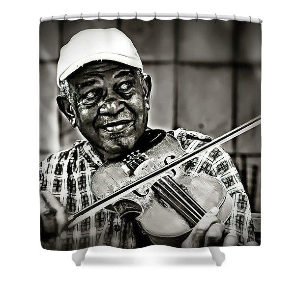 New York Street Fiddler Shower Curtain
